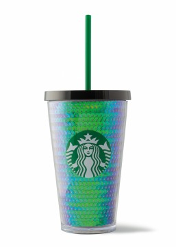 Starbucks® Cold Cup Green Sequins 16oz